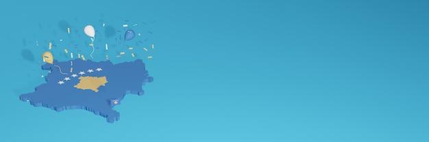 3d-karten-rendering der kosovo-flagge für soziale medien und cover-website