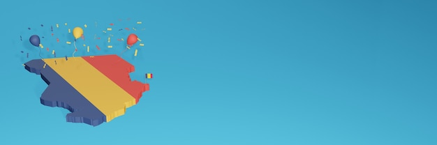 3d-karten-rendering der tschad-flagge für social media und cover-website