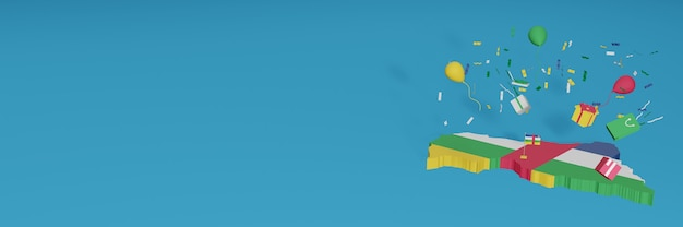 3d-kartenwiedergabe der flagge der zentralafrikanischen republik, um nationalen einkaufstag und unabhängigkeitstag zu feiern