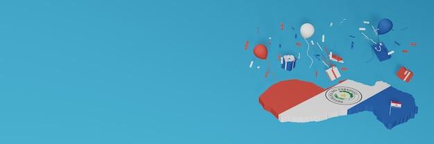 3d-kartenwiedergabe der paraguay-flagge, um nationalen einkaufstag und unabhängigkeitstag zu feiern