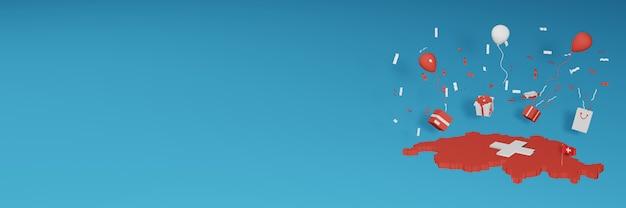 3d-kartenwiedergabe der schweizer flagge, um nationalen einkaufstag und unabhängigkeitstag zu feiern
