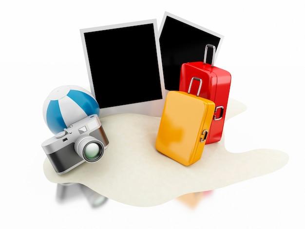 3d koffer, wasserball, kamera und fotos. reise-konzept.