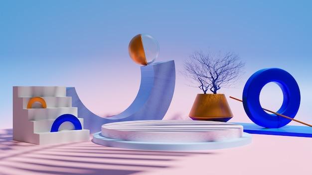 3d-konzept abstraktes buntes produktstanddesign