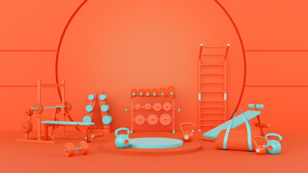 3d-konzept orange türkis fitnessstudio abstraktes standdesign