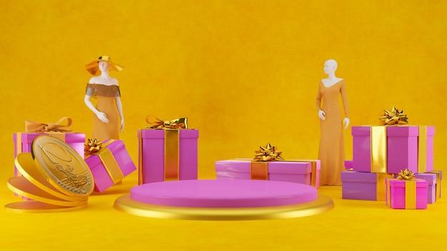 3d-konzept shop- und geschenkdisplay-produktstanddesign Premium Fotos