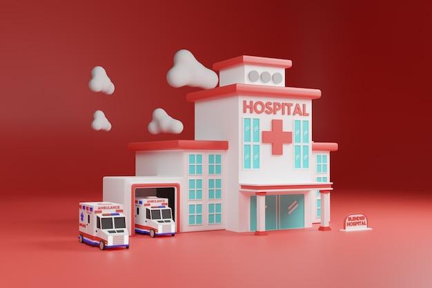 3d krankenhausgebäude illustration