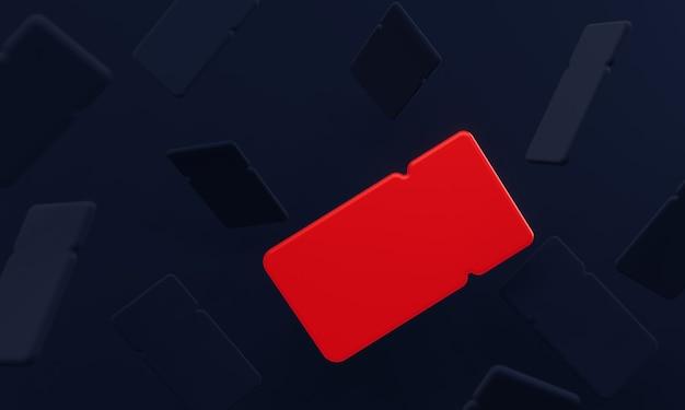 3d kreativer dunkler hintergrund von coupons für rabatt mit einem leuchtend roten coupon für black friday