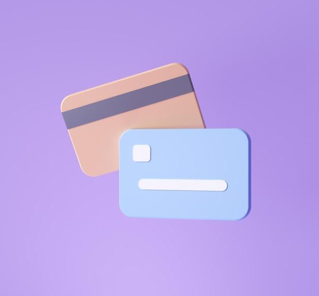 3d-kreditkartensymbol für kontaktlose zahlungen, online-zahlungskonzept. 3d-render-darstellung