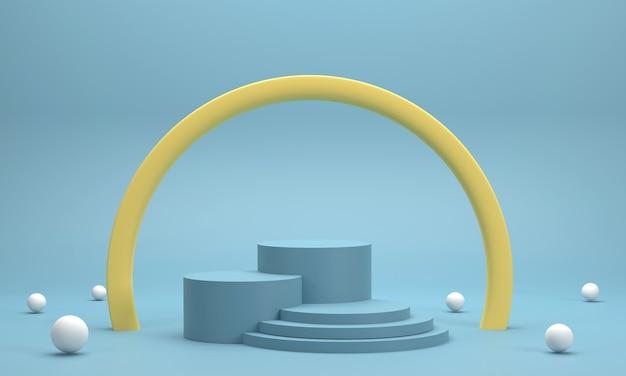 3d. kreispodest, runder ring zur präsentation von produkten durch verbundkugel