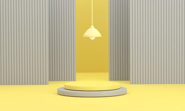 3d. kreispodium und hintergrund mit laterne auf gelbem hintergrund, produkte anzeigen.