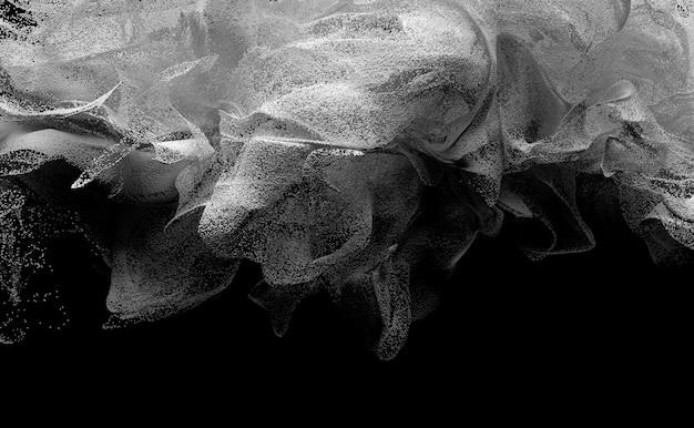 3d-kunst mit surrealer schwarzweiss-wolkenrauchstruktur basierend auf kleinen weißen kugeln auf schwarzem rücken