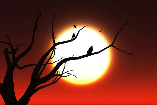3d-landschaft hintergrund mit silhouetten von vögeln in einem baum gegen einen sonnenuntergang himmel