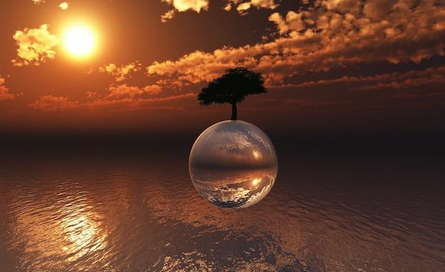 3d-landschaft mit baum auf einer glaskugel über dem sich schwimmend