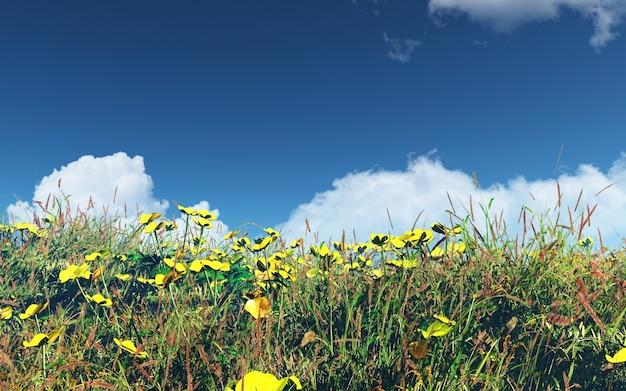 3d-landschaft mit feld von butterblumen und gras