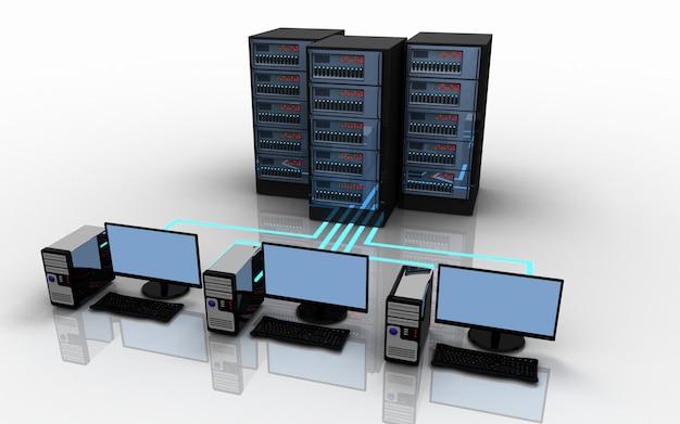 3d-laptop-server-verbindungskonzept. 3d-illustration
