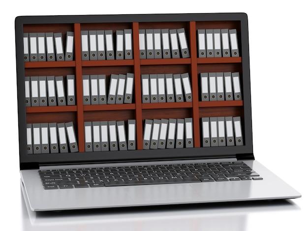 3d laptop und dateien. isolierter weißer hintergrund