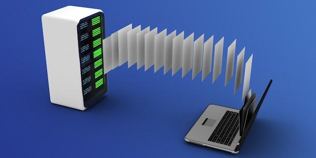 3d laptop und ordner. 3d-illustration
