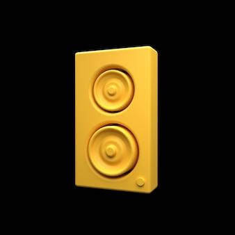 3d-lautsprechersymbol isoliert auf schwarz. 3d-rendering-ladelautsprecher-symbol. tonsäulen 3d-symbol