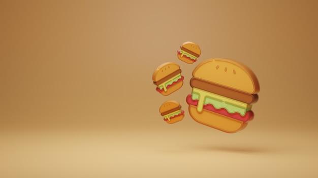 3d lebensmittel hamburger hintergrundvorlage