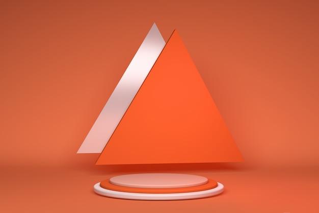 3d leeres podium mit geometrischen formen orange komposition mit dreieckskugel für moderne bühnendarstellung und minimalistischem mockup abstrakten schaufensterhintergrund konzept 3d-darstellung oder 3d-rendering