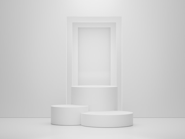 3d leeres podiumsdisplay in weißer marmorfarbe für das vorliegende produkt und das modell