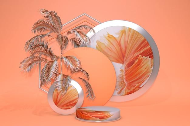 3d leuchtend orange abstrakte geometrische sockel summer vibes farben podium minimales design mit tropischen abstrakten palmen. podiumshintergrund für werbeartikel