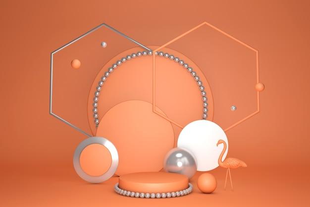 3d leuchtend orange abstraktes minimales podium mit geometrischer plattform und flamingo sommerkonzepthintergrund leer, um produkt zu zeigen