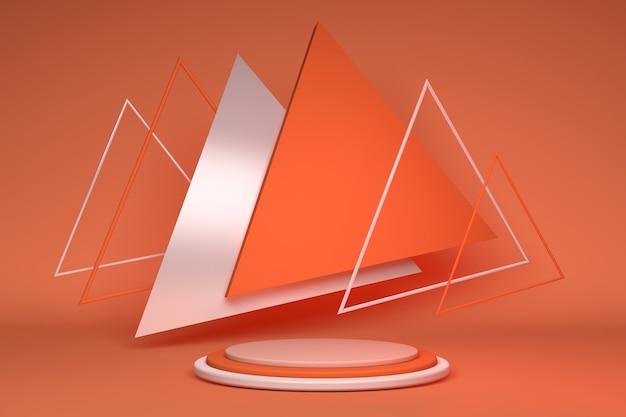 3d leuchtend orangefarbene podeststufen für markenwerbungsprodukt kreativer geometrischer hintergrund mit dreiecksform für werbepräsentation standfußmodell sommerfarben