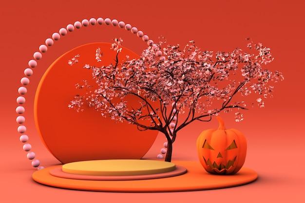3d leuchtend orangefarbenes podium oder sockel mit halloween-kürbis und blühenden baum-herbstferien