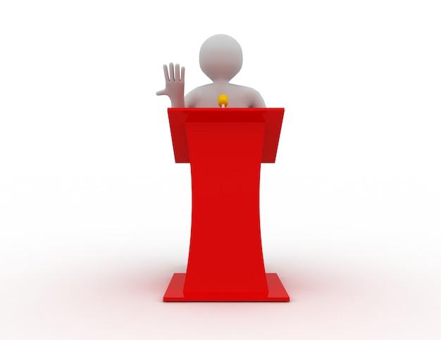 3d-leute, die hinter der sprechbühne sprechen