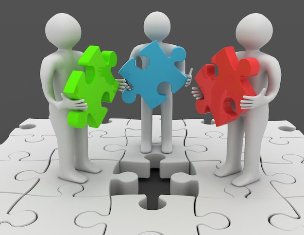 3d-leute, die verschiedene puzzleteile halten, die auf puzzle mit fehlendem teil stehen