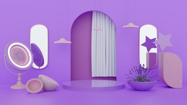 3d lila und hölzernes abstraktes konzeptstand- und produktdesign Premium Fotos
