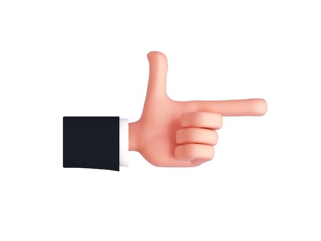 3d linke cartoonhand mit einem ärmel, der einen zeigefinger zeigt oder zur seite zeigt. fingergeste