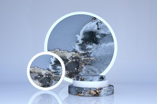 3d-luxuriöses blaugraues marmoreffekt-zylinderpodium, geometrisches formstudio auf weichem pastellhintergrund. konzeptszenen-bühnenschaufenster, produkt, werbeverkauf, banner, präsentation, kosmetik. 3d-rendering