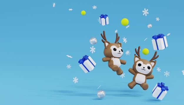 3d macht zwei rentiersprünge und glücklich mit vier geschenkboxen und schneeflocke. frohe weihnachten und ein glückliches neues jahr.