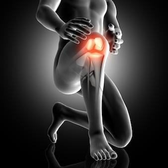 3d männliche figur mit knie in schmerz hervorgehoben