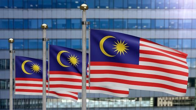 3d, malaysische flagge weht im wind mit moderner wolkenkratzerstadt. malaysia-banner bläst glatte seide. stoff textur fähnrich hintergrund. verwenden sie es für das konzept für nationalfeiertage und länderanlässe.