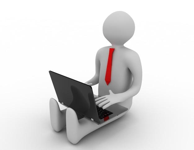 3d-mann, der am laptop arbeitet