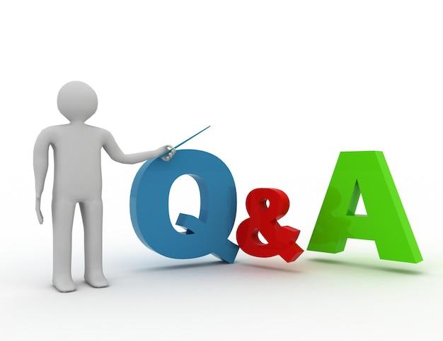 3d-mann, der q- und a-wortfragen und -antworten darstellt und präsentiert