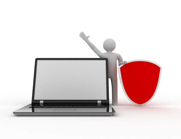 3d-mann und laptop - online-sicherheitsgeschäft