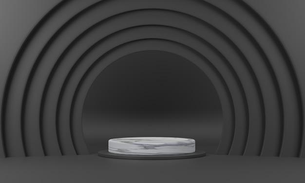 3d. marmorkreispodest der halbrunde ring umgibt es in schwarzen farbtönen.