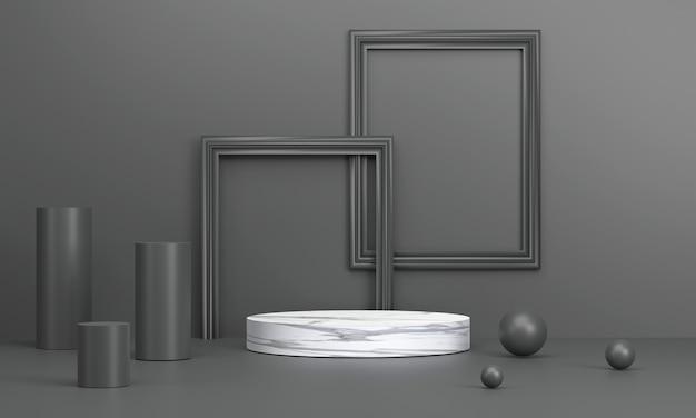 3d. marmorkreispodest mit bilderrahmen ist eine kulisse in schwarztönen. zur produktpräsentation.
