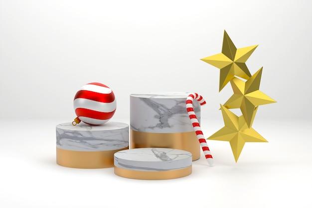 3d. marmorpodest für die weihnachtszeit, weihnachtskugeln, zuckerstangen und sterne.