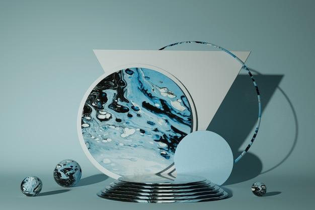 3d marmorpodest. heller sockel blank minimalistisches design