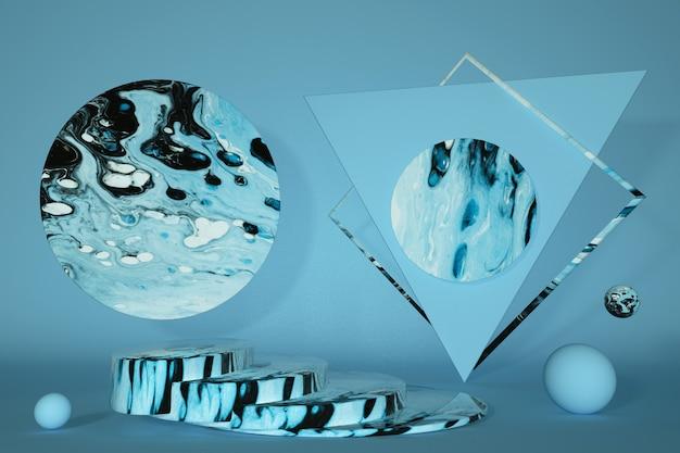 3d-marmorpodest mit sockel und minimaler geometrischer szene abstrakt
