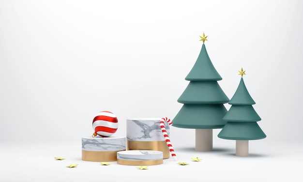 3d-marmorpodest zur präsentation für die weihnachtszeit weihnachtsbaum weihnachtskugeln zuckerstangen