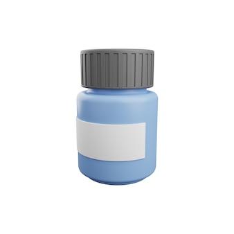 3d-medizinpillen-flasche isoliert auf weißem hintergrund. medizinflasche 3d-darstellung isoliert auf weiss