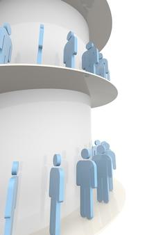 3d-menschen, die auf treppen zum erfolg gehen. 3d-rendering. isolierter weißer hintergrund.
