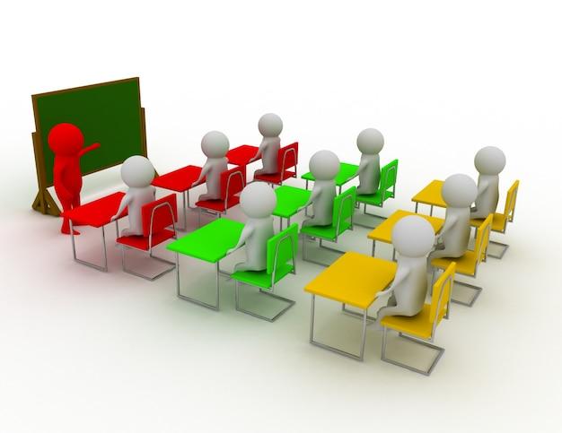 3d-menschen - männer, person mit zeiger in der hand in der nähe der tafel. konzept der bildung und des lernens.