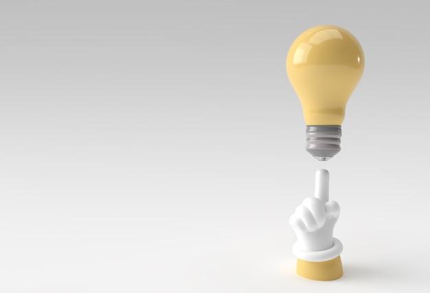 3d menschliche hand, die mit dem finger zeigt, der eine gute idee hat, die glühbirne 3d render design betrachtet.
